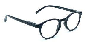 Sorte, runde og billige læsebriller i plastik