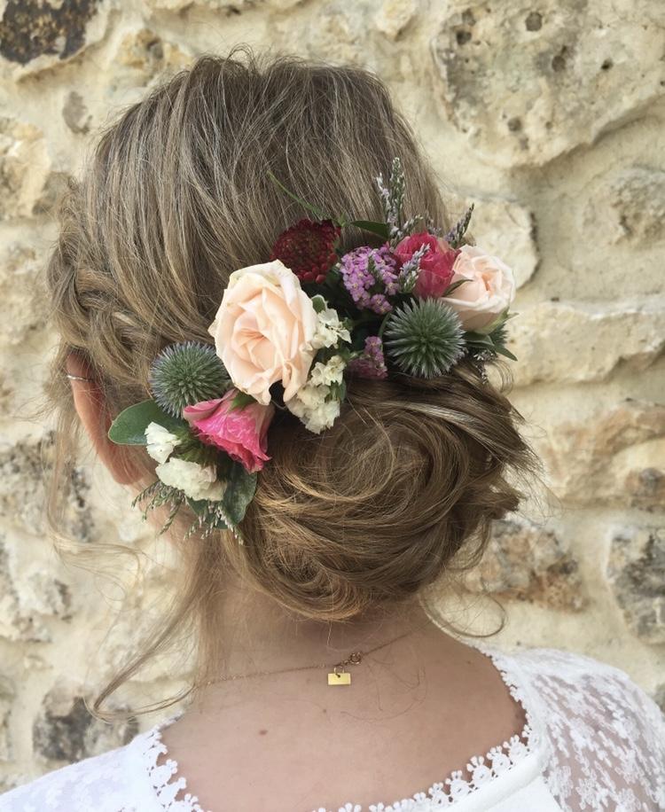 coiffure de mariée, à domicile, chignon mariage, alès