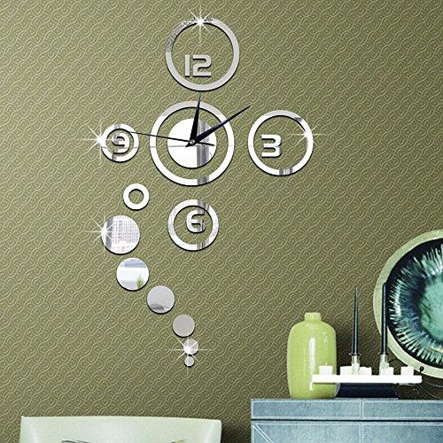 Forepin® DIY Wanduhr Moderne 3D Wandtattoo mit Spiegel Design Dekoration Clock Uhr für Öffentliche Wohnzimmer Büro Schlafzimmer Studierzimmer - Silber