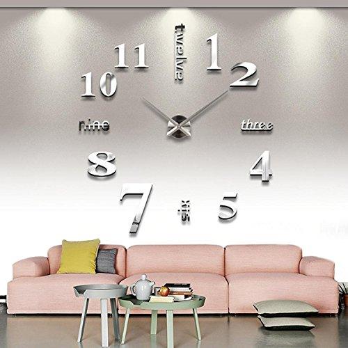 Yosoo DIY Riesen Wanduhr Acryl 3D Spiegel Oberflächen Aufkleber Wandtattoo Wohnzimmer Dekoration Uhr Zimmerdeko Einzigartiges Geschenk (TYP 2-Silber)