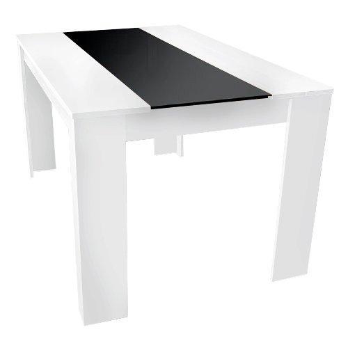 Design 140 x 90 esstisch esszimmertisch tisch weis mit glas ...