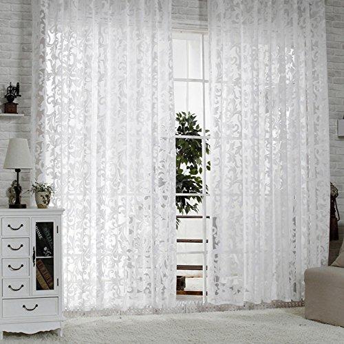 R.LANG Gardinen Wohnzimmer mit Kräuselband Oben Vorhang Weiß