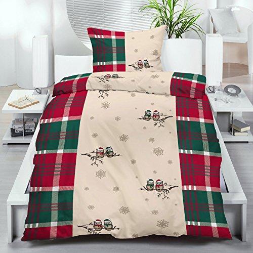 2 - 4 teilies Set Biber Winter Bettwäsche Garnitur 135x200 / 80x80cm Baumwolle beige grün rot