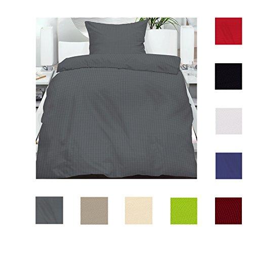 4 teiliges Set Seersucker Sommer Bettwäsche Standardgröße 135x200 + 80x80cm einfarbig bügelfrei