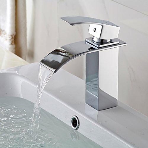 Auralum® Elegant Design Einhebel Mischbatterie Wasserhahn Armatur Waschtischarmatur Wasserfall Einhandmischer für Badezimmer Bad Waschbecken 2 Typ Wasserspar Ventil-Kern