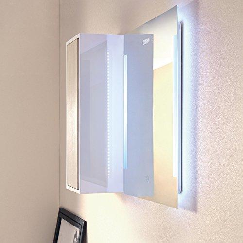 Badspiegel mit Beleuchtung LED Lichtspiegel Premium SPGS016 50x70CM Touch+Digitale Uhr 13.8W mit TÜV Reihland LED Spiegel Wandspiegel