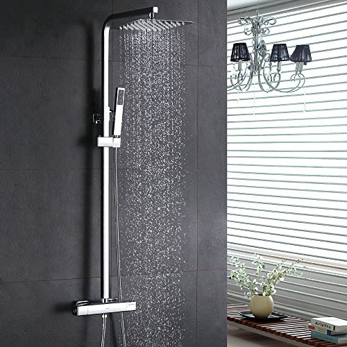 Homelody inkl. Thermostat Duschset Chrom eckig Duschsystem Duscharmatur Überkopfbrause Regendusche Handbrause Regenbrause mit Duschpaneel