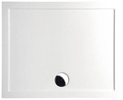 Mineralguss Duschwanne 110x90 - begehbare Dusche 1100x900x40 mm, Weiß