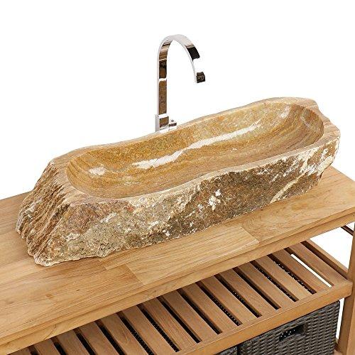 Naturstein Onyx Waschbecken Waschschale Aufsatzwaschbecken Unikat 96x35x14 cm