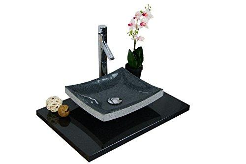 Waschbecken aus Naturstein, Granit, Model Dublin, anthrazit, G654, 35x30cm
