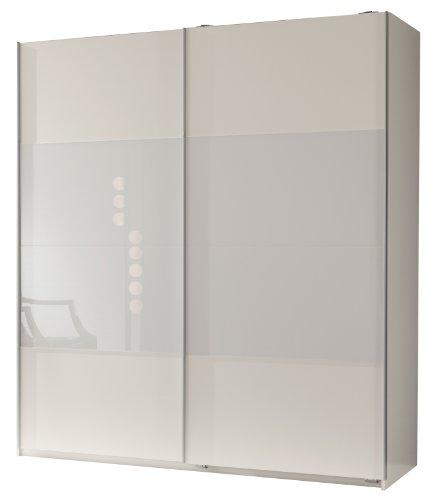 Wimex 113771 Schwebetürenschrank 198 x 180 x 64 cm, Front alpinweiß und Glas weiß, Korpus alpinweiß