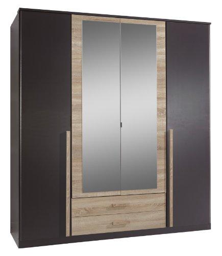 Wimex 117453 Drehtürenkleiderschrank 198 x 180 x 58 cm, Absetzung Eiche-sägerau-Nachbildung, Front und Korpus lavafarbig