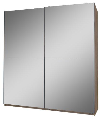 Wimex 120772 Schwebetürenschrank 198 x 180 x 64 cm, Eiche-sägerau-Nachbildung, Front vollverspiegelt