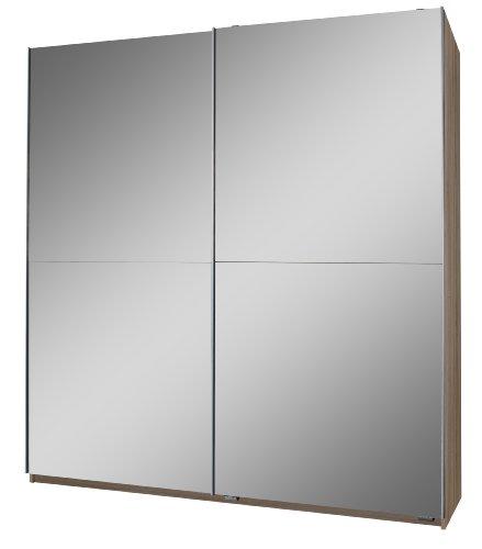 Wimex 120773 Schwebetürenschrank 198 x 135 x 64 cm, Eiche-sägerau-Nachbildung, Front vollverspiegelt