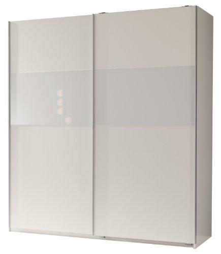 Wimex 127771 Schwebetürenschrank 198 x 180 x 64 cm, Front und Korpus alpinweiß, Absetzungen Glas weiß