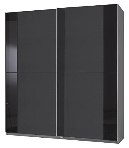 Wimex 206770 Schwebetürenschrank 135 x 198 x 64 cm, Front anthrazit, Korpus alu, Absetzungen Glas schwarz