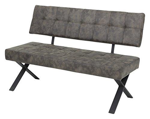 Sitzbank mit Lehne Donna I,  Softex Vintageoptik Braun  X-Metallgestell Anthrazit, 140 x 61  x 93 cm  Apollo