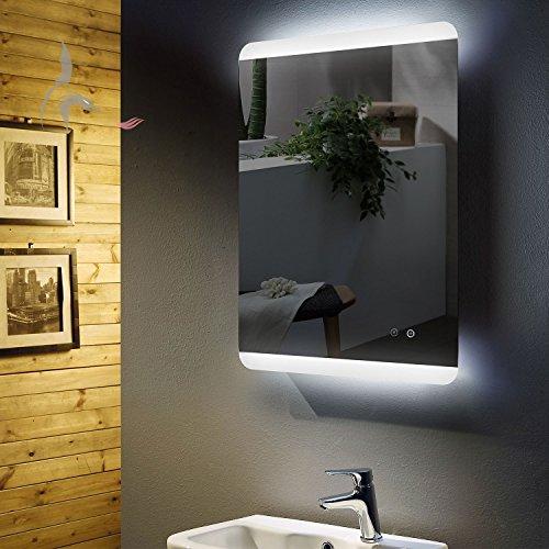 TOP AKTION WEIHNACHTEN! LED Bad Spiegel beleuchtet mit ANTIBESCHLG SPIEGELHEIZUNG, Füssen 60x80cm, Montage Hoch- und Querformat möglich, Badezimmerspiegel mit Licht oben und unten, Energieklasse A+