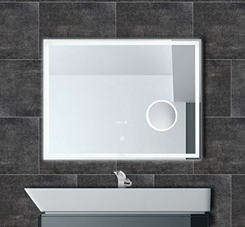 Badspiegel mit Uhr LED Beleuchtung Touch Kosmetikspiegel Badezimmer Spiegel IP44 einbaufertig (80 x 60 cm)
