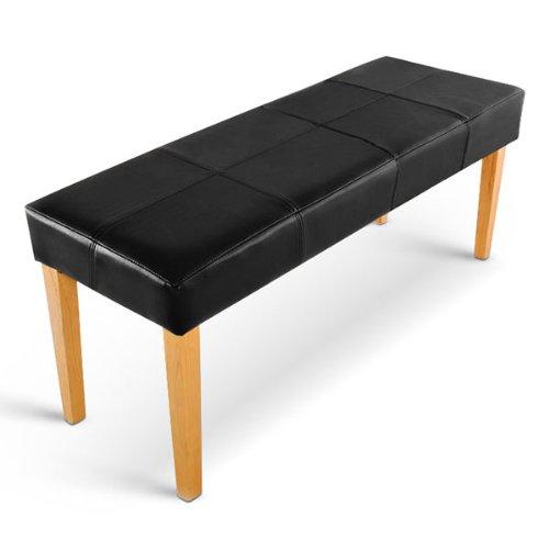 SAM® Esszimmer Sitzbank Enzio 110 cm in schwarz mit buche-farbigen Beinen aus Pinien-Holz, SAMOLUX®-Bezug für angenehmen Sitzkomfort, frei aufstellbare Bank ohne Rückenlehne