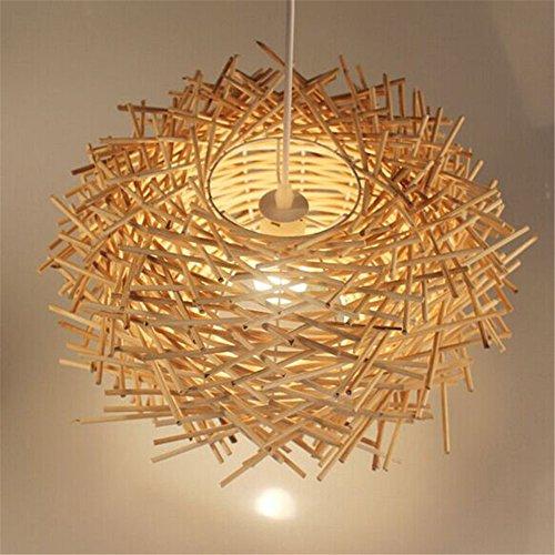 Malovecf Ungewöhnliche Handgemachte Vögel Nest LED Deckenleuchte Twisted Rattan Lampe Pendelleuchten, Holz, 350 * 220MM