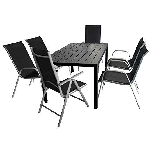 7tlg. Gartenmöbel Set Gartentisch, Polywood-Tischplatte, 150x90cm + 4x Stapelstuhl, Textilenbespannung + 2x Hochlehner, klappbar, 7-fach verstellbar