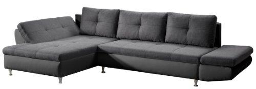 Cavadore 457 Polsterecke Coutre, Longchair-2er mit einseitiger Armteilfunktion, 325 x 89 x 186 cm, Toscana graphite-Bison schwarz