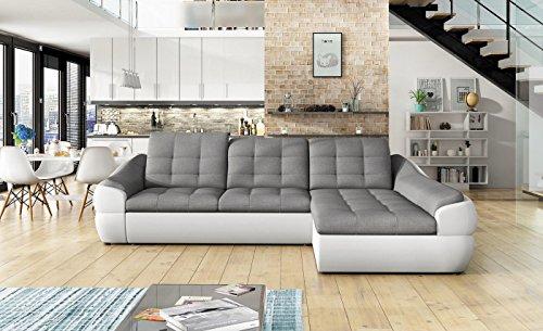 Ecksofa INFINITY MINI mit Schlaffunktion Sofa Couch Schlafsofa Polsterecke Bettfunktion (ottomane rechts, kunstleder weiß / stoff INARI 91)