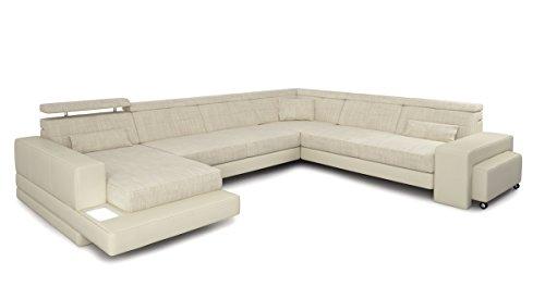 Couch Sofa XXL Wohnlandschaft U-Form Leder Stoff weiß creme Designsofa Ecksofamit LED-Licht Beleuchtung IMOLA