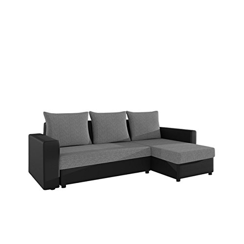 Mirjan24  Ecksofa Top Lux! Sofa Eckcouch Couch! mit Schlaffunktion und Zwei Bettkasten! Ottomane Universal, L-Form Couch Schlafsofa Bettsofa Farbauswahl (Soft 011 + Florida 01)
