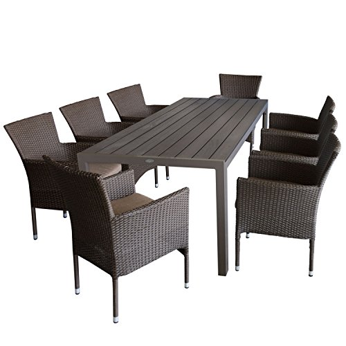 Multistore 2002 9tlg. Sitzgruppe Gartengarnitur Terrassenmöbel Gartenmöbel Set - Gartentisch, 205x90cm, Polywood-Tischplatte Champagner + 8X Sessel, Polyrattan, stapelbar, Braun-Meliert, inkl. Kissen