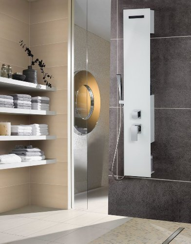 Luxus Glas Duschpaneel Amazonas II weiß Duschsäule Duschset Regendusche Neu Brausepaneel