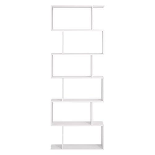 SONGMICS Bücherregal Regal aus Holz, Standregal zur Vorführung, freistehende Schrank, Dekoregal mit 6 Ebenen, weiß,LBC61WT