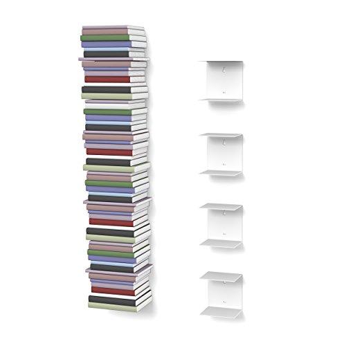 home3000 Unsichtbares Bücherregal mit 8 Fächern in Farbe weiß bis zu 200 cm Hohen Bücherstapel für Bücher bis zu 22 cm Tiefe