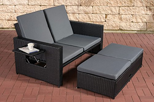 clp poly rattan 2er lounge sofa ancona alu gestell fu teil ausziehbar flexibel verstellbar. Black Bedroom Furniture Sets. Home Design Ideas