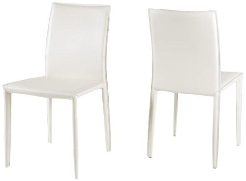 AC Design Furniture 42338 Esszimmerstuhl 2-er Set Emma, 100% regeneriertes Leder weiß
