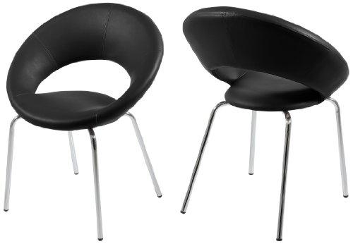 AC Design Furniture 48508 Esszimmerstuhl 2-er Set Thilde, Kunstleder schwarz