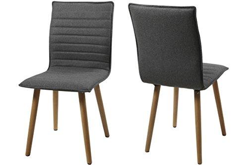 AC Design Furniture H000014089 Esszimmerstuhl 2-er Set Claus, Sitz/Rücken Gestell aus Eiche, Stoff, hellgrau
