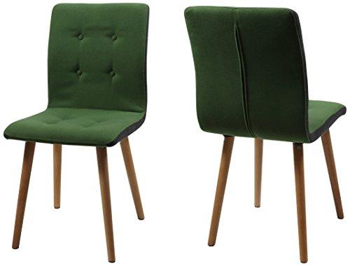 AC Design Furniture H000014096 Esszimmerstuhl 2-er Set Charlotte, Sitz/Rücken Seiten dunkelgrau, Knöpfen und Stoff, grün