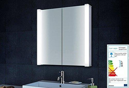 Alu Spiegelschrank Badspiegel Badezimmer mit LED Beleuchtung (72x75cm) MLA6705L