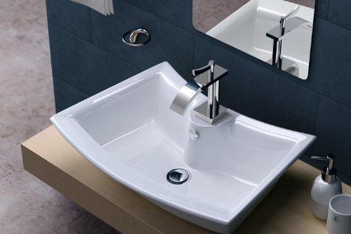 BTH: 56x38x14,5cm Design-Aufsatzwaschbecken Brüssel820 aus Keramik Waschbecken Waschtisch Waschplatz Waschschale