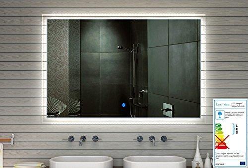 Badezimmer Spiegel Wandspiegel LED mit 710 Lumen TOUCH SCHALTER Lichtfarbton kalt/warm einstellbar 60 x 59 cm - MF91060