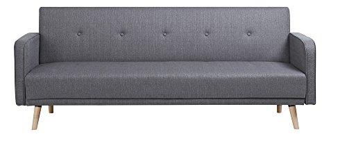 CLP Klapp-Sofa/Schlafsofa EBBA, Stoffbezug, ca. 200 x 80 cm, stilvolle Zierknöpfe, dicke Polsterung, Couch mit Liegefunktion, FARBWAHL Grau