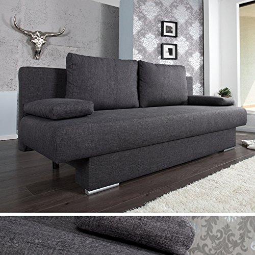 Design Schlafsofa BARCLAYS anthrazit 200cm Bettkasten Gästebett Funktion Sofa Couch