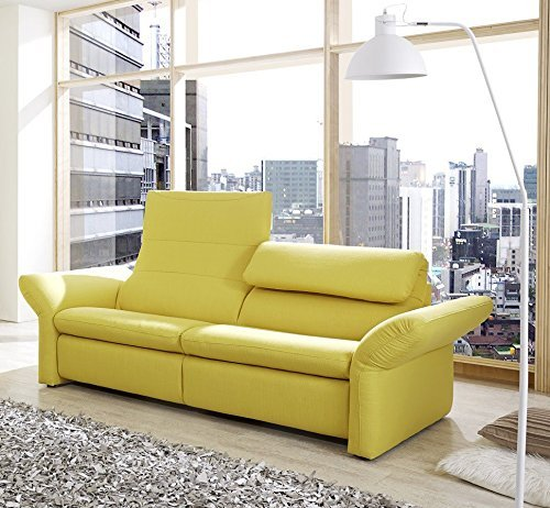 Dreams4Home 3er Polstersofa 'Lemone', Sofa, Wohnzimmer, gelb, Rückenfunktion
