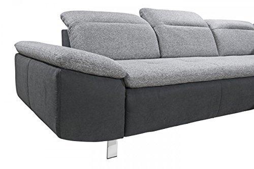 Dreams4Home 3er Sofa 'Side' - Sofa, Polstersofa, Couch, Rückenlehne einzeln verstellbar, Wohnzimmer, Wellenfederung,Stellmaß BxT: 248 x 101 cm, in hellgrau und dunkelgrau
