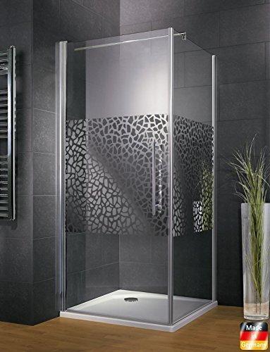 Schulte Duschkabine Glas-Dusche 90x90, 5mm Stärke Drehtür und Seitenwand chrom-optik Sicherheitsglas terrazzo