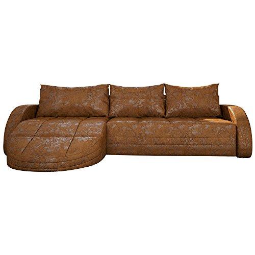 Eck-Sofa braun in Leder-Optik: Edle Designer Couch mit LED, großer 3 Sitzer, 265 cm breit, Leder-Sofa mit 156 cm tiefer Recamiere / Ottomane, links & rechts montierbar | Wohnlandschaft | Made in EU