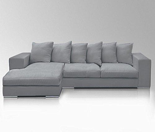 Amaris Elements | 'Newman', Ecksofa, große Couch, Ecke links, hell grau, Mikrofaser, 295x106/165x89/45 cm