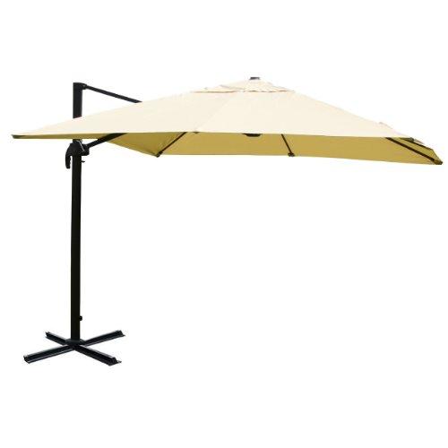 Mendler Gastronomie-Luxus-Ampelschirm Sonnenschirm N22, 4,3 m ~ creme ohne Ständer